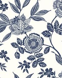 Wood Cut Jacobean Wallpaper Navy by