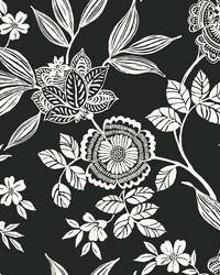 Wood Cut Jacobean Wallpaper Black White by