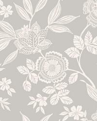 Wood Cut Jacobean Wallpaper Gray by