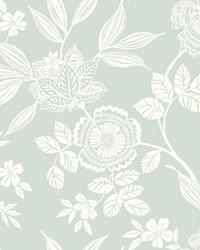 Wood Cut Jacobean Wallpaper Green by