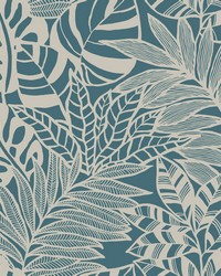 Jungle Leaves Wallpaper Teal by