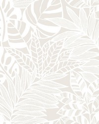 Jungle Leaves Wallpaper White by