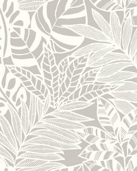 Jungle Leaves Wallpaper Gray by