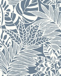 Jungle Leaves Wallpaper Blue by