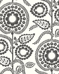 Pomegranate Bloom Wallpaper Black White by