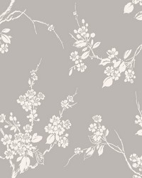 Imperial Blossoms Branch Wallpaper Gray White by
