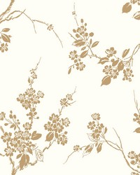 Imperial Blossoms Branch Wallpaper Metallic Gold White by