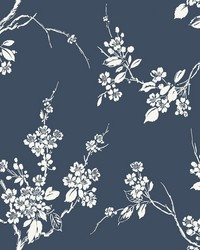 Imperial Blossoms Branch Wallpaper Navy by