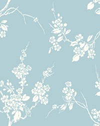 Imperial Blossoms Branch Wallpaper Blue by