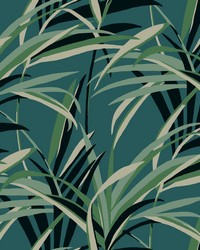 Tropical Paradise Wallpaper Green Teal  by