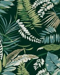 Tropical Toss Wallpaper Dark Green by