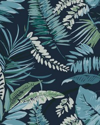 Tropical Toss Wallpaper Navy by