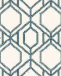 Sawgrass Trellis Wallpaper White Blue by