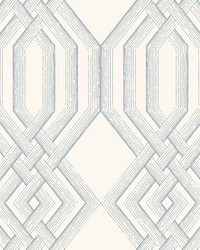 Ettched Lattice Wallpaper Blue by