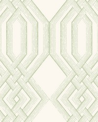 Ettched Lattice Wallpaper Green by