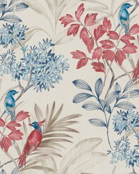 Handpainted Songbird Wallpaper Red Blue by