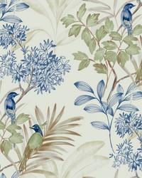 Handpainted Songbird Wallpaper Green Blue by
