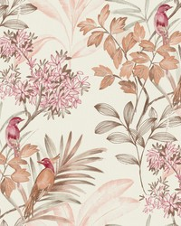 Handpainted Songbird Wallpaper Red by