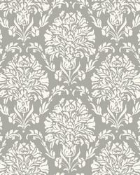 Block Print Damask Wallpaper Dark Gray by