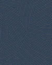 Stitched Prism Wallpaper Navy by