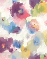 Impressionist Floral Wallpaper Purple  Blue by