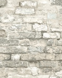 Brick Alley Wallpaper White by