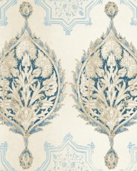 Henna Palm Ogee Wallpaper  Blues by