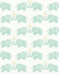 Elephants Love Wallpaper Greens by