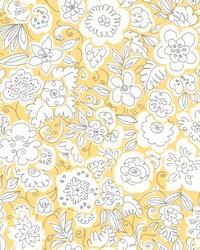 Doodle Garden Wallpaper Yellows by