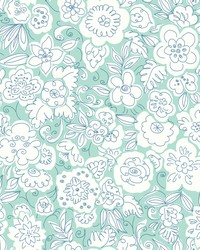 Doodle Garden Wallpaper Greens by