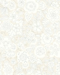 Doodle Garden Wallpaper White Off Whites by