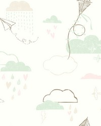 Kites In The Clouds Wallpaper Browns by
