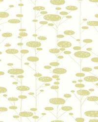 Retro Trees Wallpaper Greens by