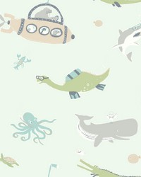 Underwater Exploration Wallpaper Greens by