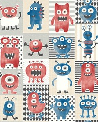 Monster Party Wallpaper Blues by