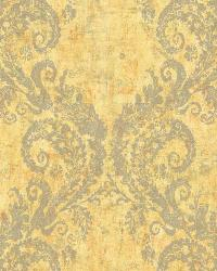 Batik Ogee 16 Yellow Gray Wallpaper WT4517 by