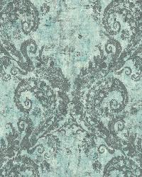 Batik Ogee 19 Teal Gray Wallpaper WT4518 by