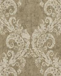 Batik Ogee 24 White Taupe Wallpaper WT4521 by