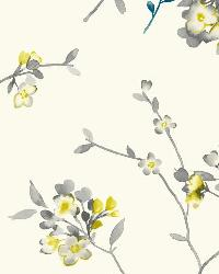 Soft Blossoms 3 Citron Teal Gray Wallpaper by