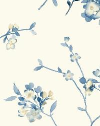 Soft Blossoms 20 Blue Wallpaper WT4537 by
