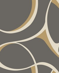 Elliptical Wallpaper dark grey  cream  bright metallic gold by