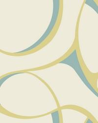 Elliptical Wallpaper cream  yellowish green  metallic turquoise by