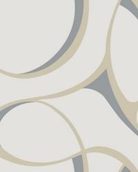 Elliptical Wallpaper white  beige  metallic silver by