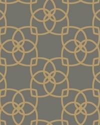Serendipity Wallpaper dark grey  bright metallic gold by