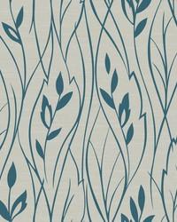 Leaf Silhouette Wallpaper grey  metallic teal by