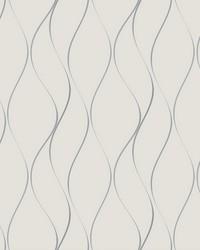 Wavy Stripe Wallpaper off-white  metallic silver by