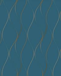 Wavy Stripe Wallpaper blue  metallic gold by