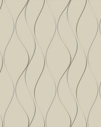 Wavy Stripe Wallpaper beige  metallic gold  metallic silver by