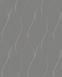 Wavy Stripe Wallpaper black  brushed metallic pewter  metallic silver by