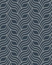 Interlocking Geo Wallpaper deep greyish blue  metallic silver by